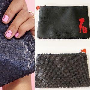 "IPSY Black Sequin Betty Boop Glam Bag 8""x 5.5"""